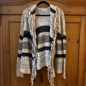 Abercrombie & Fitch Hooded Cardigan with Fringe